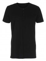 Mens Tee W/Placket T-shirt med knapper sort (black)