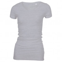 Long Stretch V-Neck T-shirt Oxford grå ( Oxford grey)