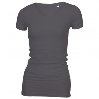 Long Stretch V-Neck T-shirt sort (black)