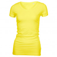 Long Stretch V-Neck T-shirt Lys gul (light yellow)