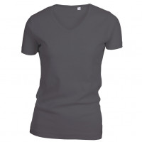 Lady Cotton T-shirt V-neck sort (black)