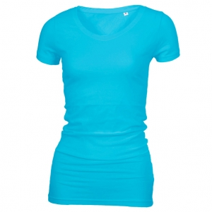 Long Stretch V-Neck T-shirt Lys turkis (light turquoise)